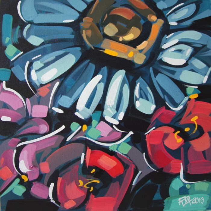 """Flower Abstraction 55"" original fine art by Roger Akesson"