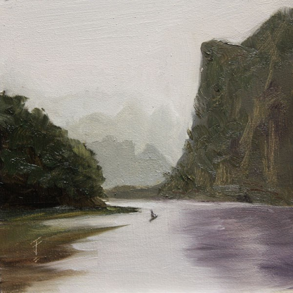 """Solitary Stretch on the River"" original fine art by Jane Frederick"
