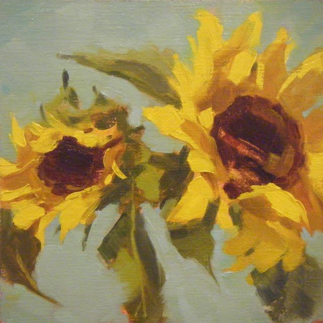 """""""SUNFLOWERS"""" original fine art by Helen Cooper"""