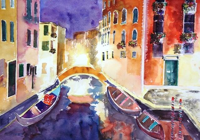 """Night Venice"" original fine art by Lisa Fu"