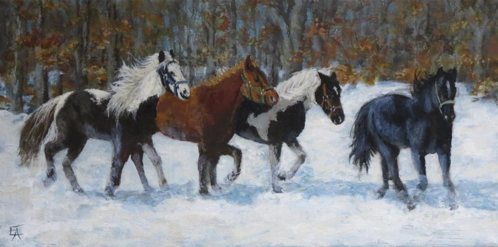 """Horses in the Snow"" original fine art by Elizabeth Elgin"