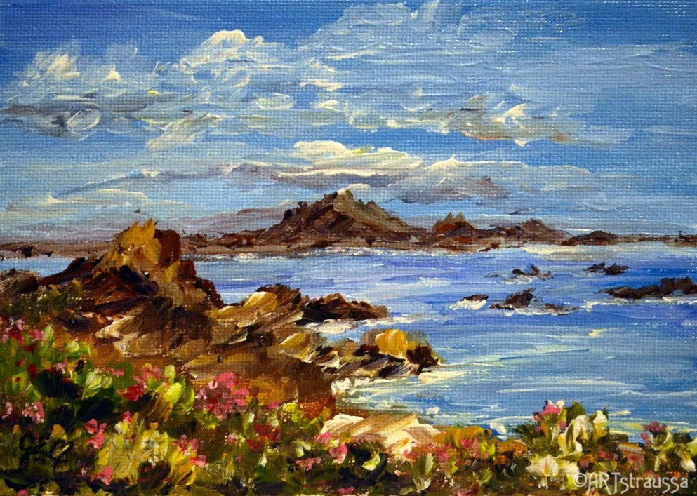 """Flowers By The Seaside"" original fine art by Gloria Ester"