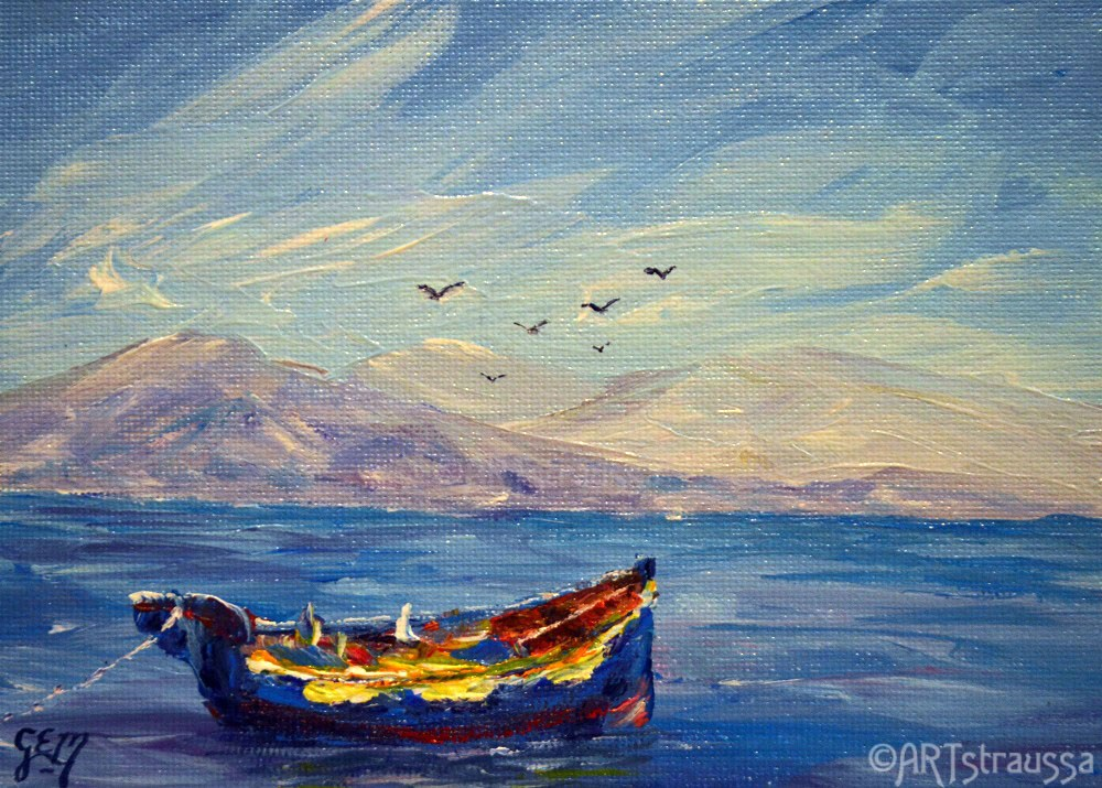 """SALE!!!Therasian Boat"" original fine art by Gloria Ester"