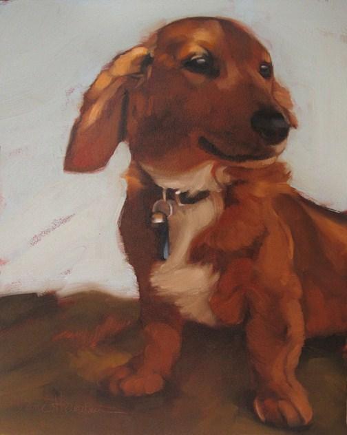"""""""Weiner Dog pet portrait oil painting Hoeptner"""" original fine art by Diane Hoeptner"""