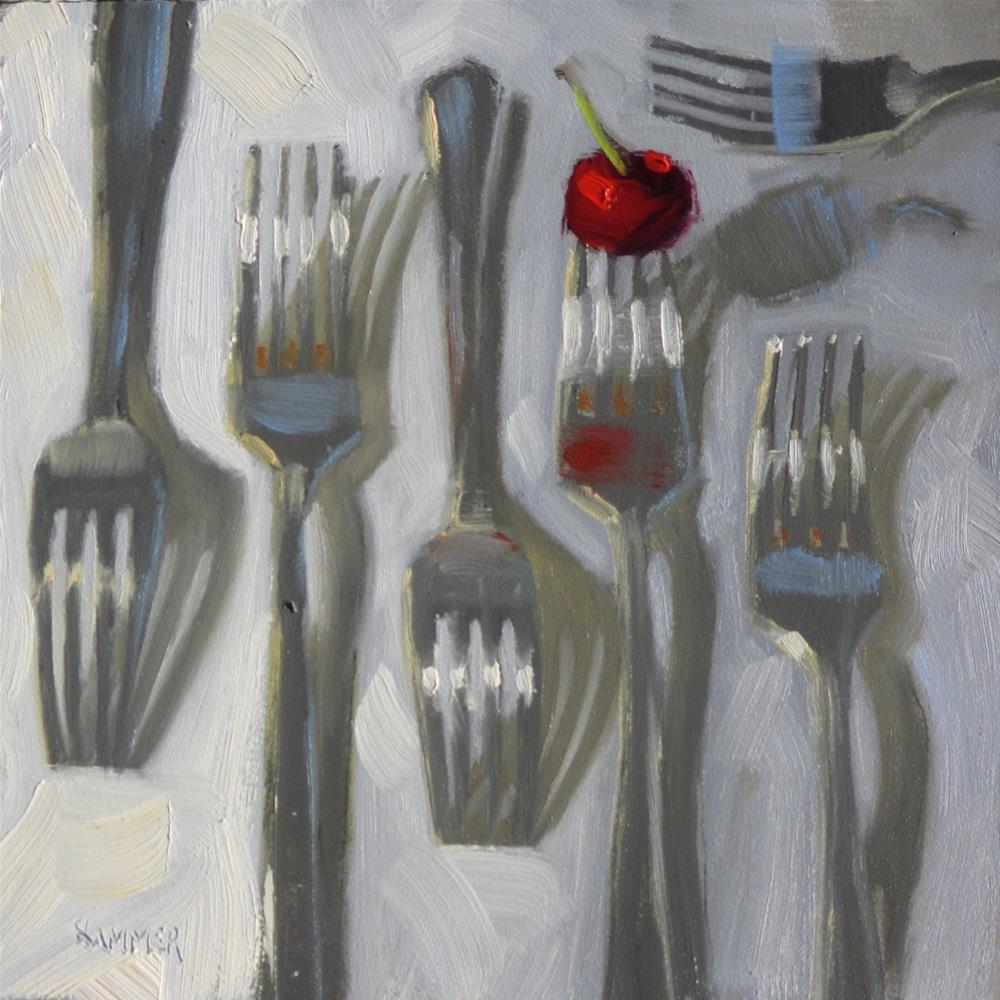 """""""Six forks and a cherry  6 x 6  oil"""" original fine art by Claudia Hammer"""