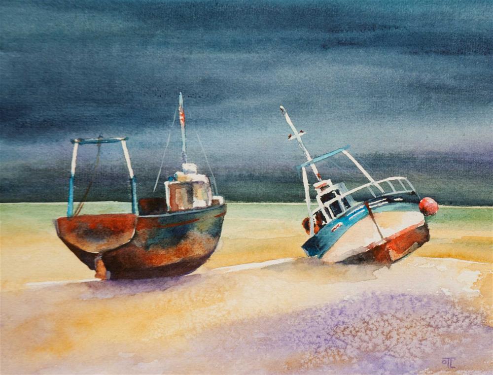 """DCS #69 -Two boats"" original fine art by Olga Touboltseva-Lefort"