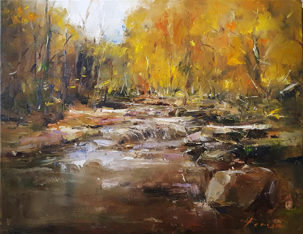 """""""The calm rushing water of the forest..!"""" original fine art by Teresa Yoo"""