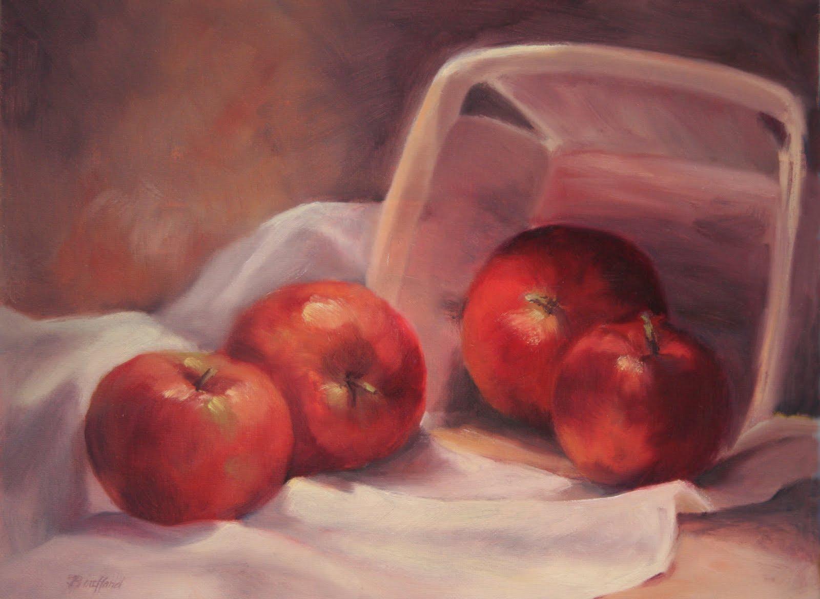"""Apples and Basket"" original fine art by Vikki Bouffard"