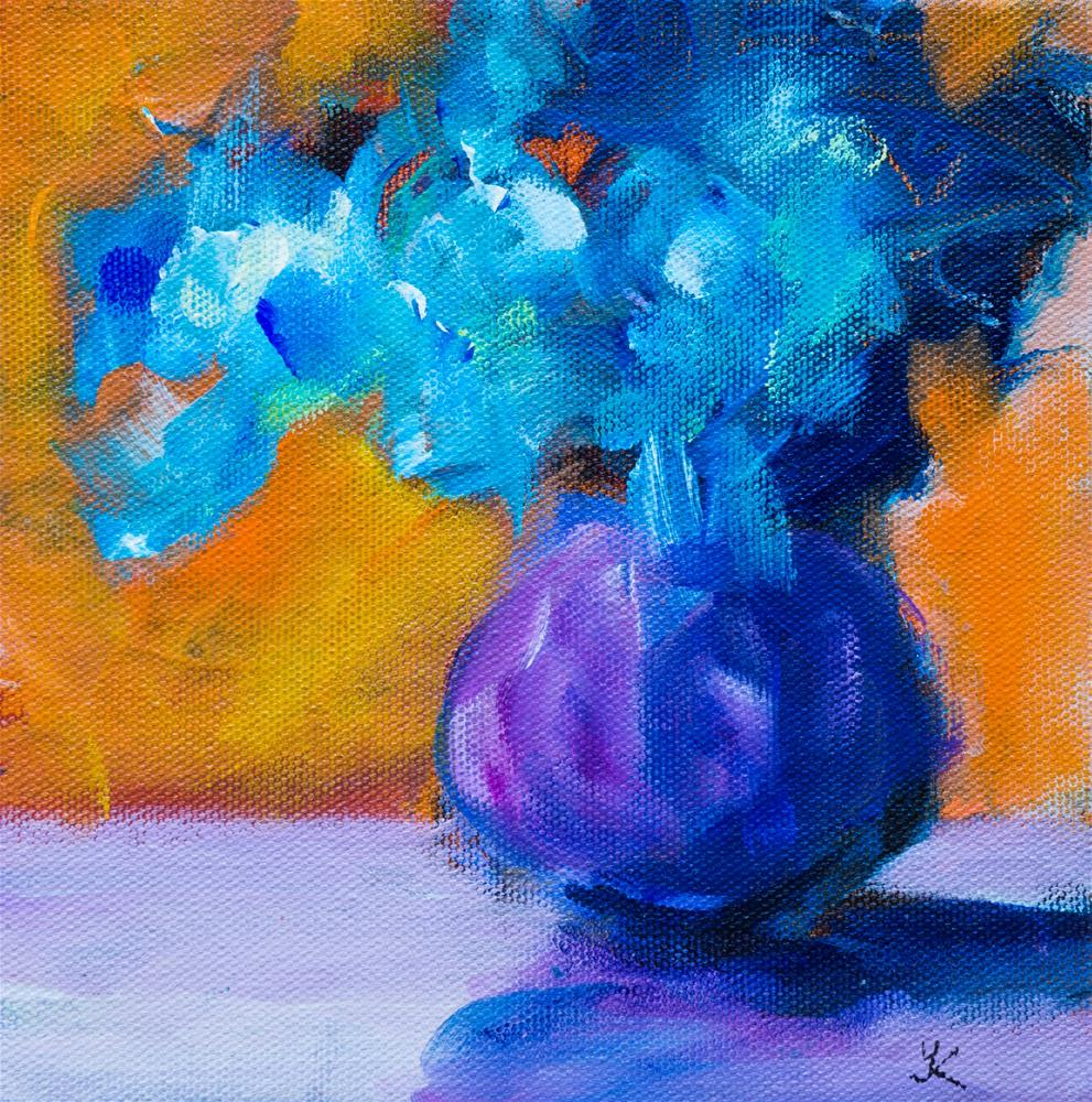 """Blue Flowers"" original fine art by Yulia Kazansky"