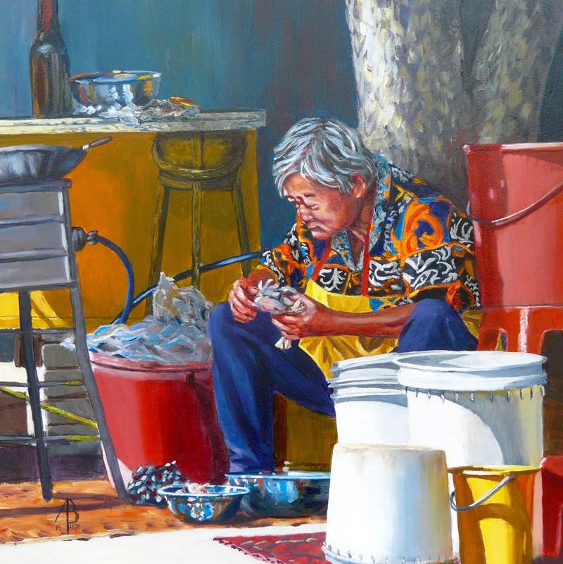 """Cleaning crabs, Penang"" original fine art by Alix Baker PCAFAS AUA"
