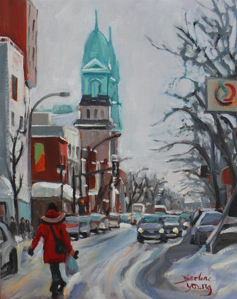 """904 Montreal Winter Scene, Petite Italie, oil on board, 8x10"" original fine art by Darlene Young"