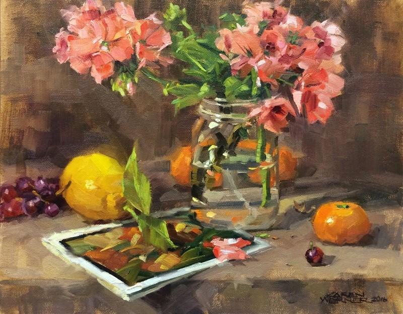 """Fruit, Jar & Geraniums"" original fine art by Karen Werner"