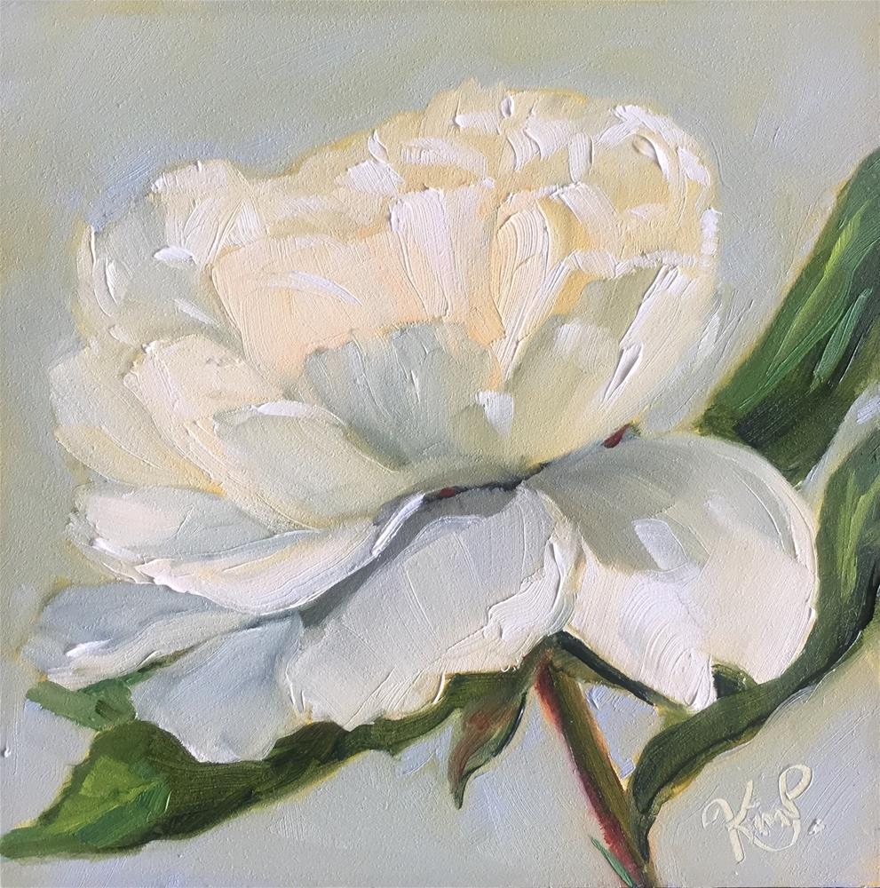 """White peony study "" original fine art by Kim Peterson"