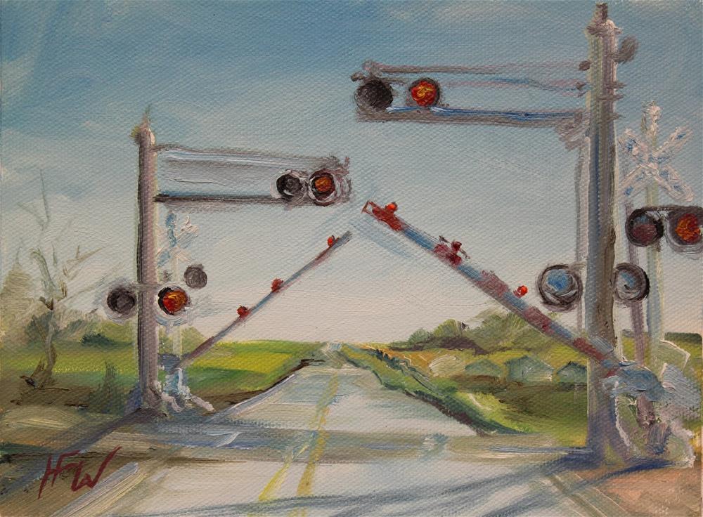 """""""Railroad crossing"""" original fine art by H.F. Wallen"""
