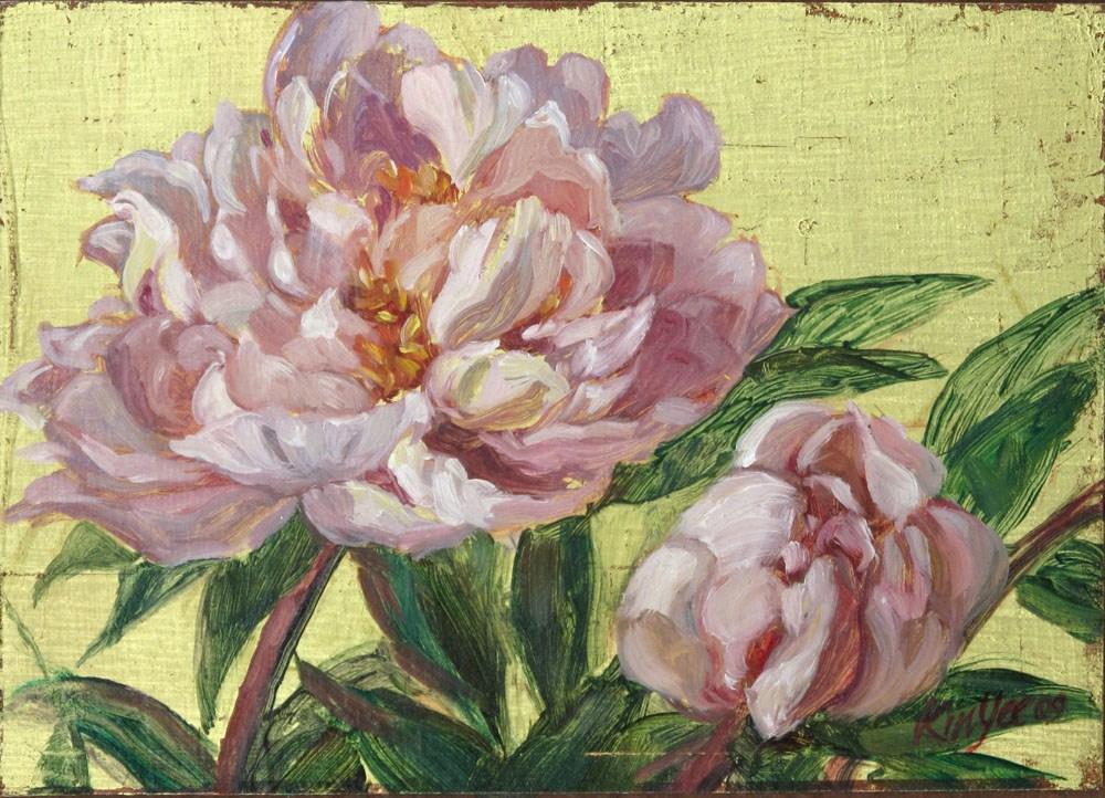 """""""Gilded peonies H1"""" original fine art by Myriam Kin-Yee"""