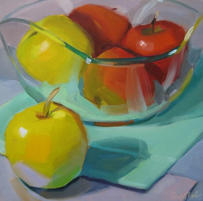 """Apples in Glass Bowl"" original fine art by Robin Rosenthal"