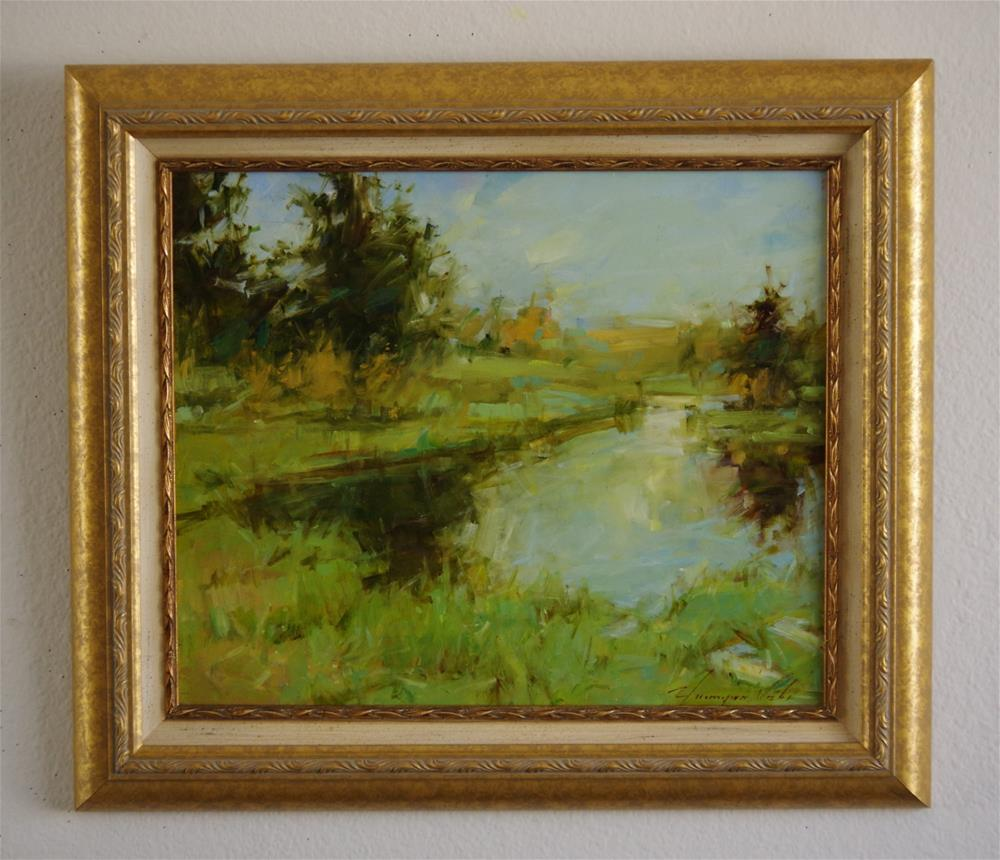 """Landscape Lake Side Original oil painting Framed Ready to Hang"" original fine art by V Y"