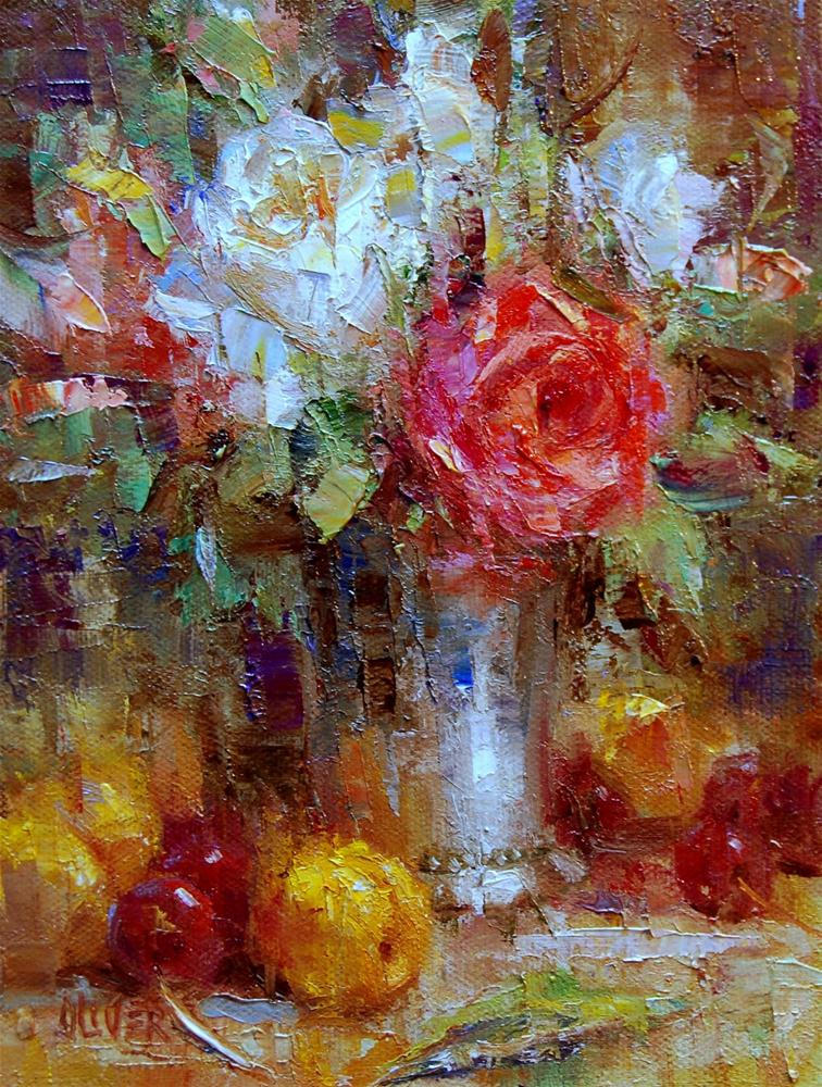 """Apricots and Roses"" original fine art by Julie Ford Oliver"