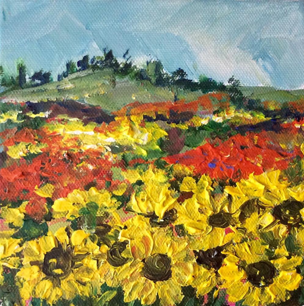 """""""Provence sunflowers landscape"""" original fine art by Sonia von Walter"""