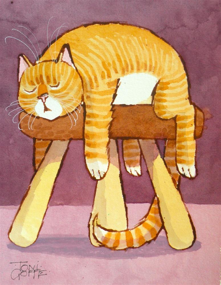 """3 Legs Good…..4 Legs……..tired!"" original fine art by Toni Goffe"