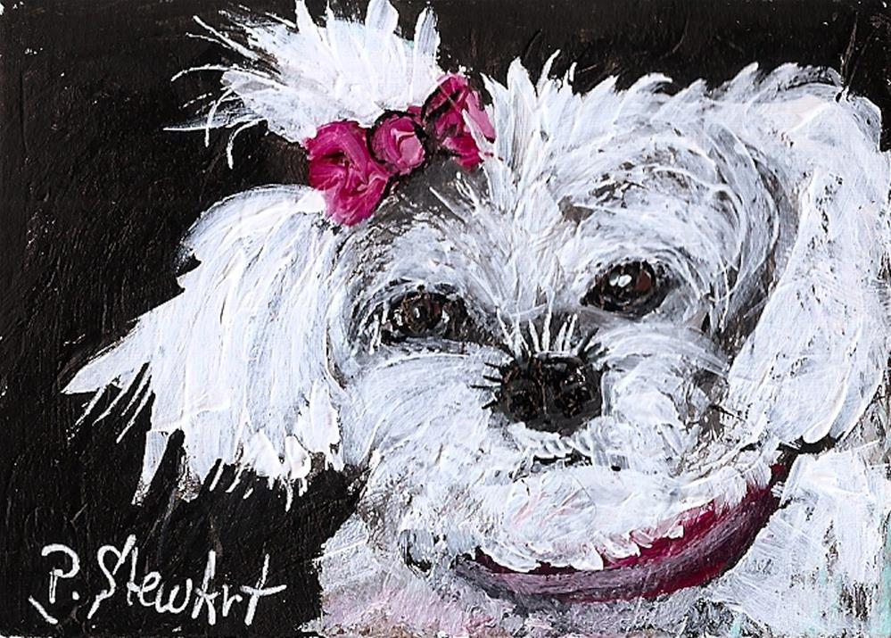 """""""ACEO White Fluffy Dog with Pink Bow, Original Art, painted in Acrylics"""" original fine art by Penny Lee StewArt"""