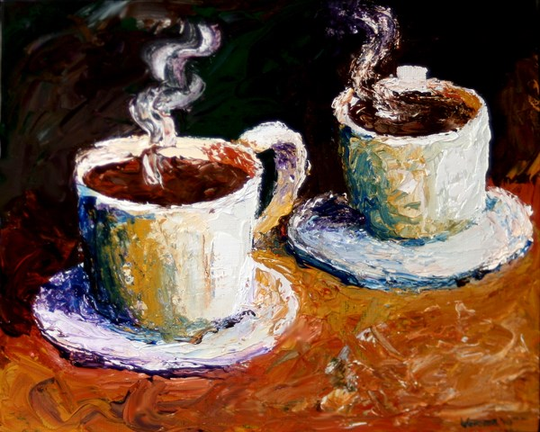 """""""Mark Webster - Palette Knife Coffee Cups Acrylic Painting"""" original fine art by Mark Webster"""
