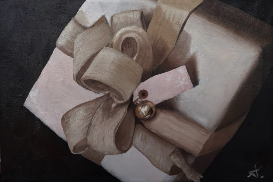"""a present for you! 124"" original fine art by Konstantia Karletsa"