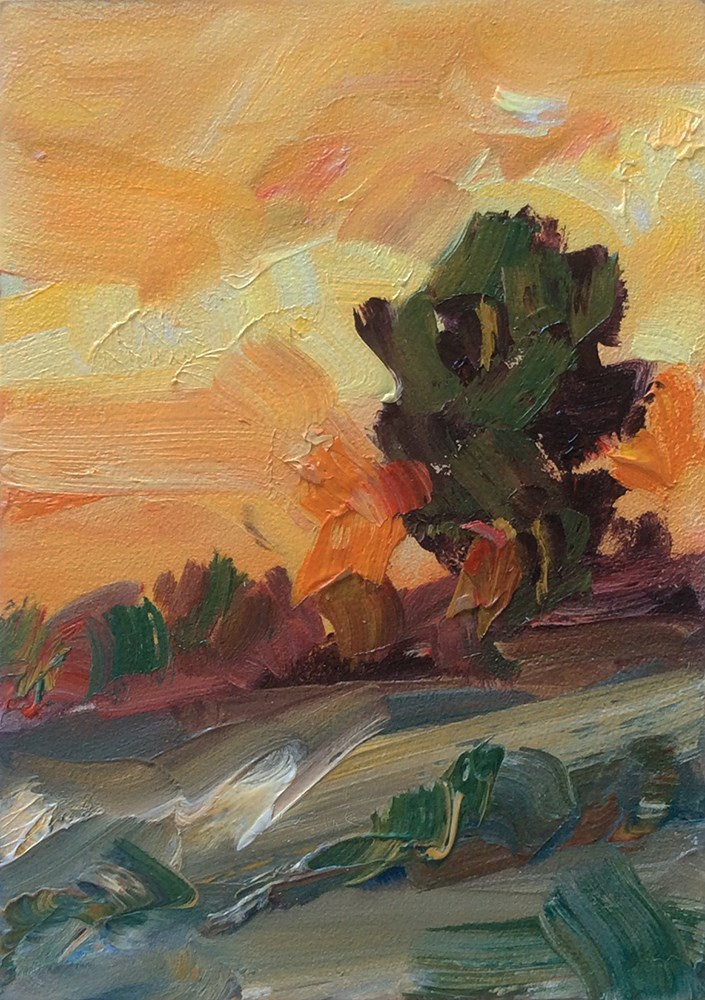 """AMAZING SUNSET"" original fine art by Tom Brown"