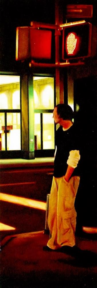 """Crossroads- Painting Of Man Waiting At Traffic Light New York"" original fine art by Gerard Boersma"