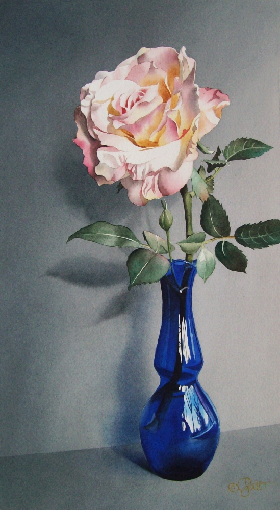 """Still Life with Blue Vase"" original fine art by Jacqueline Gnott, TWSA, WHS"