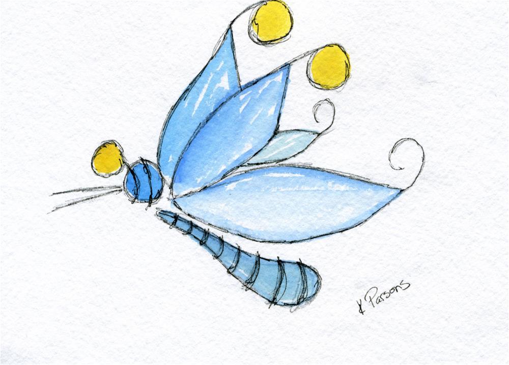 """Wonderlandia Dragonfly"" original fine art by Kali Parsons"