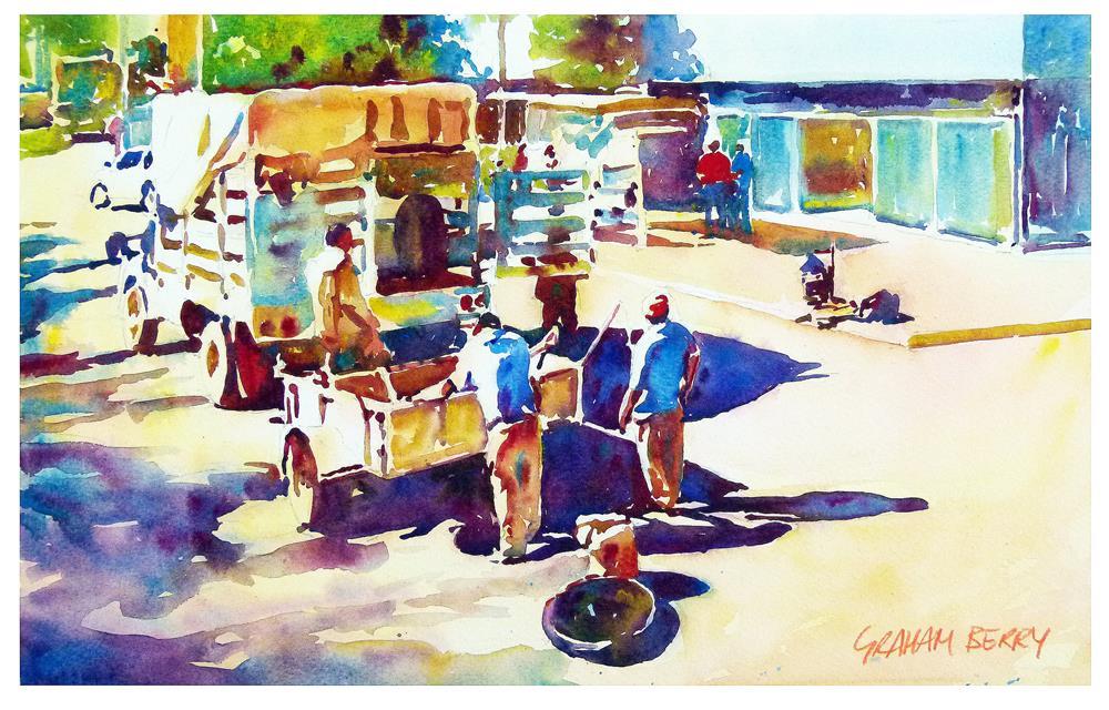 """Road gang"" original fine art by Graham Berry"