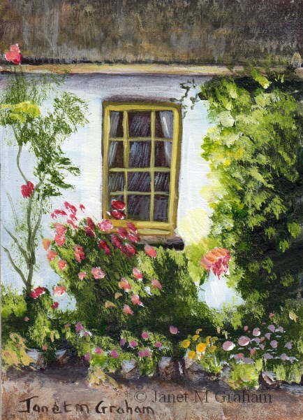 """Cottage Window ACEO"" original fine art by Janet Graham"