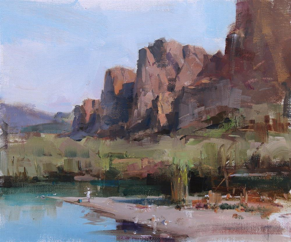 """Plein Air at Superstition Mountain"" original fine art by Qiang Huang"