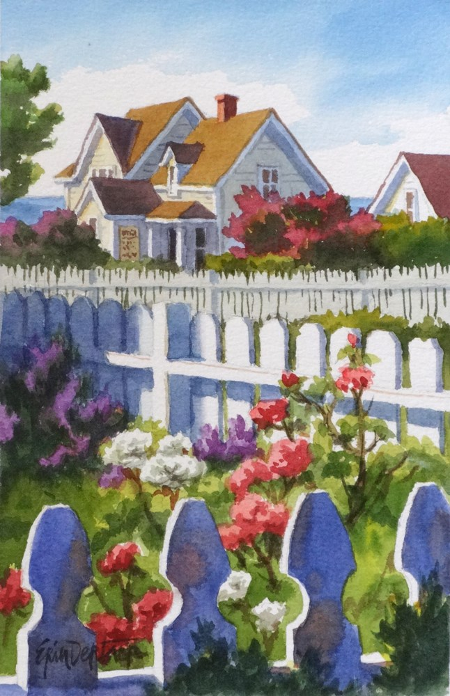 """Fanciful Fences"" original fine art by Erin Dertner"