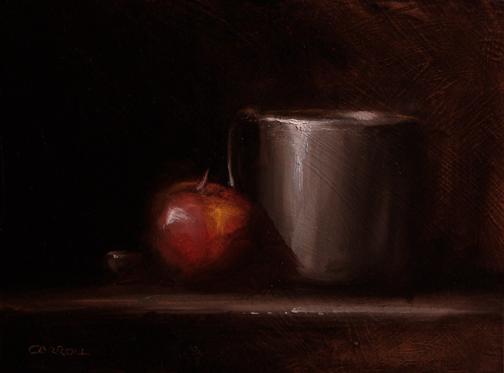 """Pewter Cup with Apple"" original fine art by Neil Carroll"