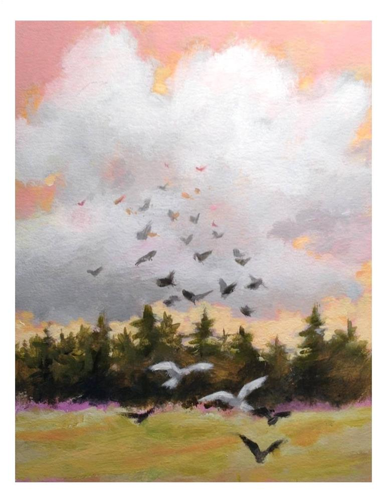 """Pink Sky And Birds"" original fine art by Suzanne Woodward"