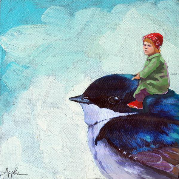 """The Adventure - mixed media fantasy oil painting"" original fine art by Linda Apple"