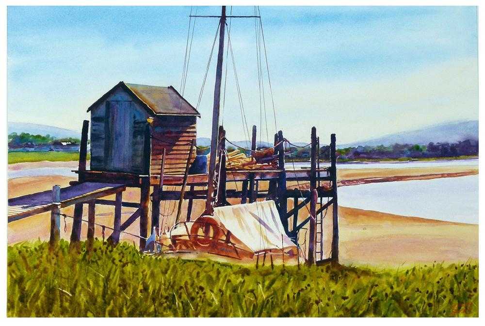 """""""Old shed and jetty."""" original fine art by Graham Berry"""