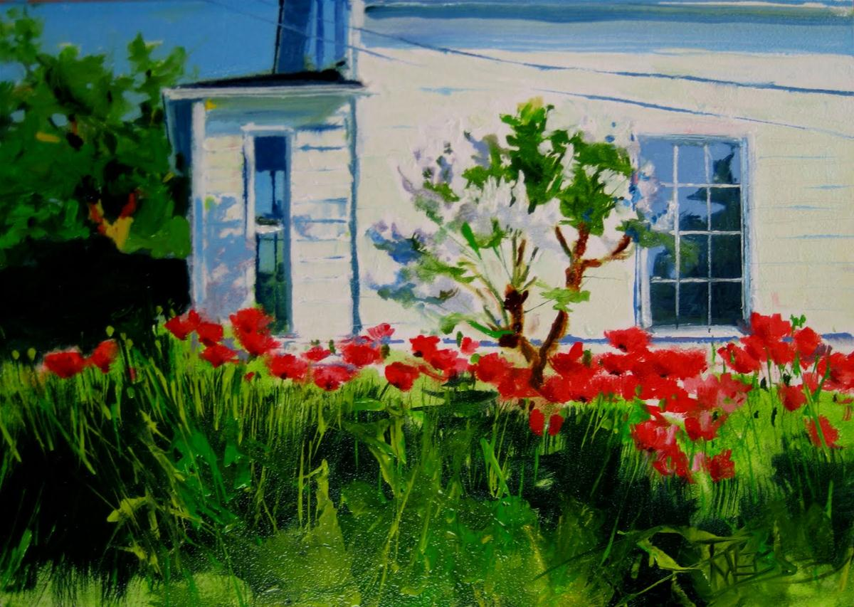 """Poppy House  landscape daily painting"" original fine art by Robin Weiss"