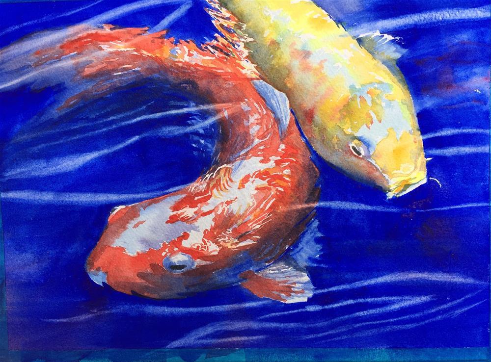 """Koi x2"" original fine art by Natasha Ramras"