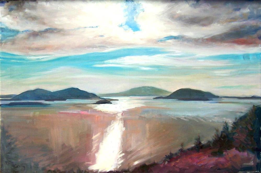 """Evening on Blancard Mountain,seascape,oil on canvas,24x36,priceNFS"" original fine art by Joy Olney"