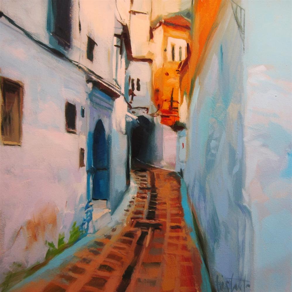 """""""Calle de Asilah"""" original fine art by Víctor Tristante"""