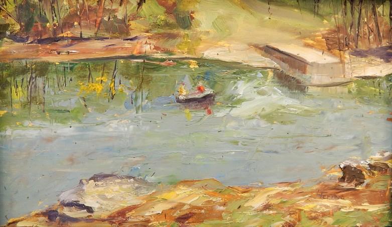 """By the Dock"" original fine art by Lina Ferrara"