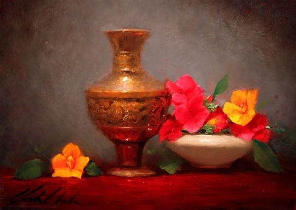 """Nasturtiums and Vase"" original fine art by Justin Clements"