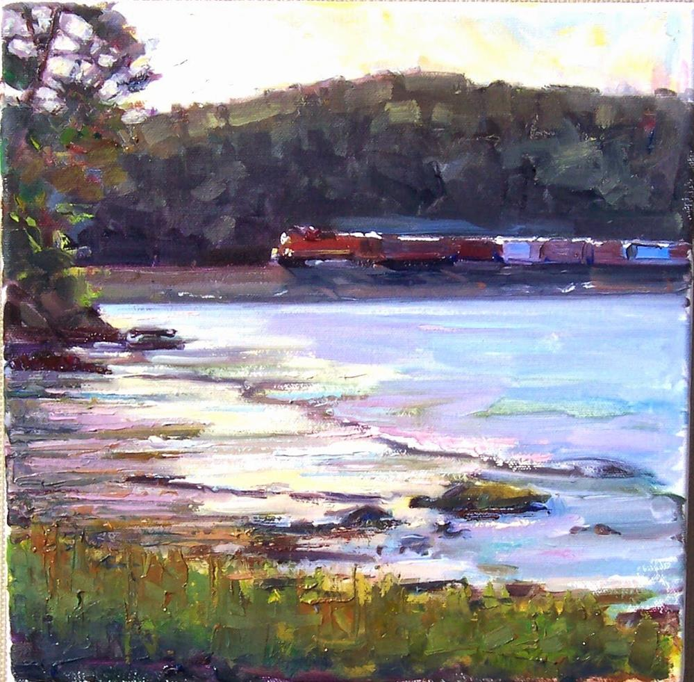 """Train through Mudflats,landscape,oil on canvas,12x12,priceNFS"" original fine art by Joy Olney"