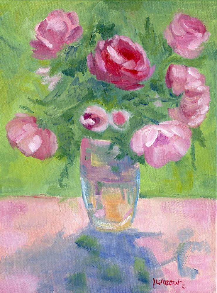 """""""ORIGINAL OIL PAINTING OF PINK GARDEN ROSES ON ETSY NOW"""" original fine art by Sue Furrow"""