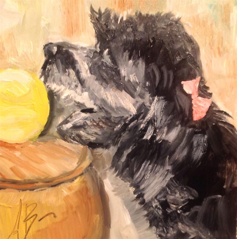 """Babe with tennis ball"" original fine art by Annette Balesteri"