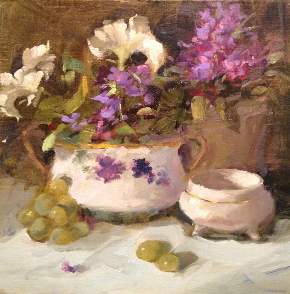"""Pansies & grapes"" original fine art by Krista Eaton"