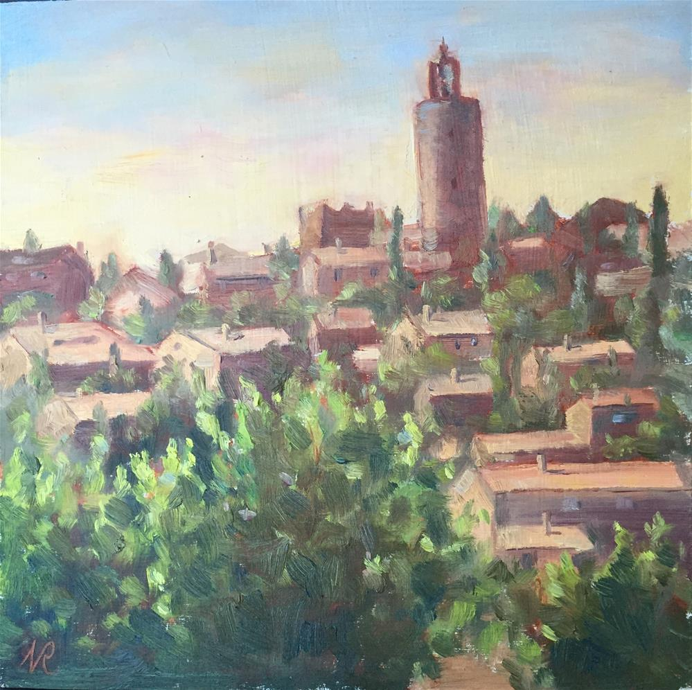 """Old town"" original fine art by Natasha Ramras"